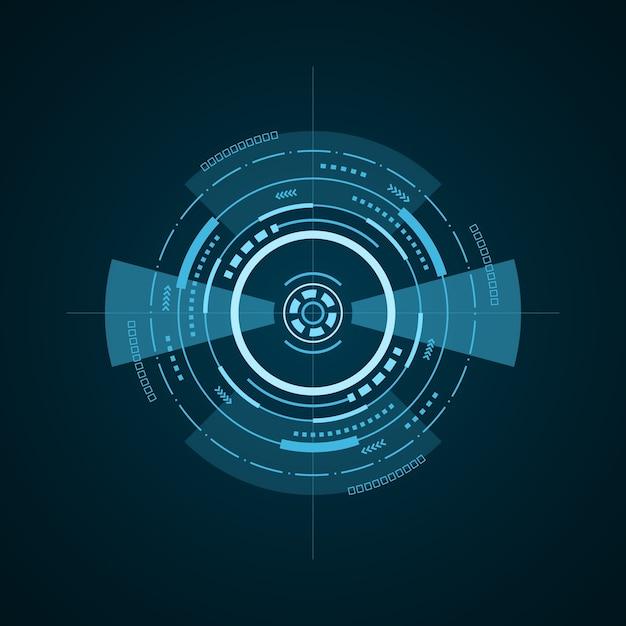 暗い背景にhudの未来的な要素。ハイテクユーザーインターフェイス。抽象的な仮想ターゲット、イラスト Premiumベクター