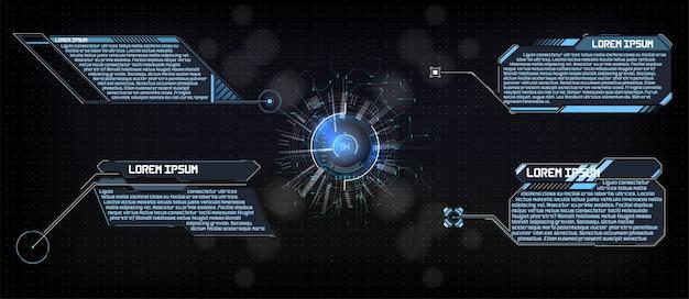 Hud gui hitech футуристический дисплей тема анализа науки и технологий цифровой Premium векторы