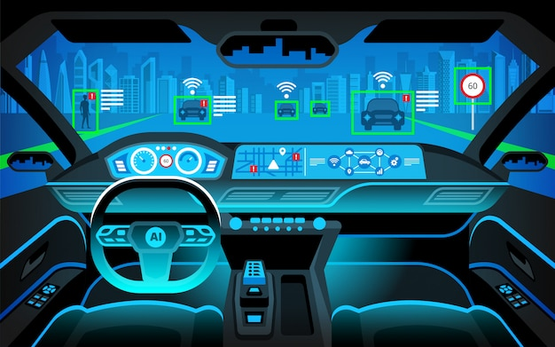 Пустая кабина автомобиля, hud (head up display) и цифровой спидометр. автономная машина. автомобиль без водителя. самостоятельное вождение автомобиля. Premium векторы