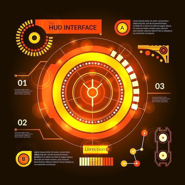 Hud interface orange Free Vector