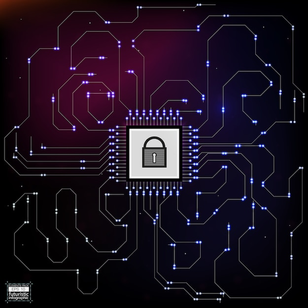 Стиль hud в иллюстрации сетевой безопасности. Premium векторы