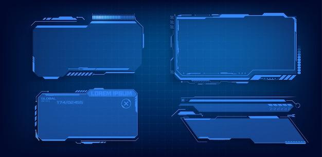 Набор элементов экрана пользовательского интерфейса футуристического кадра hud, ui, gui. набор с выносками связи. абстрактный дизайн макета панели управления. синий виртуальный привет scifi Premium векторы