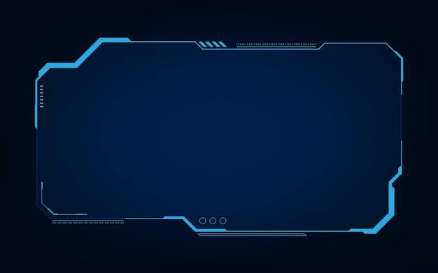 Hud、ui、guiの未来的なユーザーインターフェイス画面要素。ビデオゲーム用のハイテク画面。サイエンスフィクションのコンセプトデザイン。 Premiumベクター