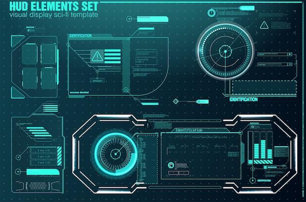 Набор элементов экрана футуристического пользовательского интерфейса hud ui gui. высокотехнологичный экран для видеоигр. Premium векторы