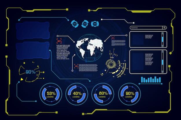 抽象的な未来hud ui guiインターフェース画面こんにちはハイテク背景 Premiumベクター