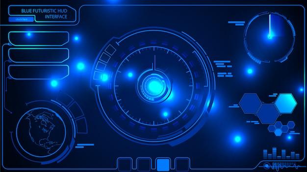 Hud ui. цифровой футуристический пользовательский интерфейс. футуристический интерфейс hud Premium векторы