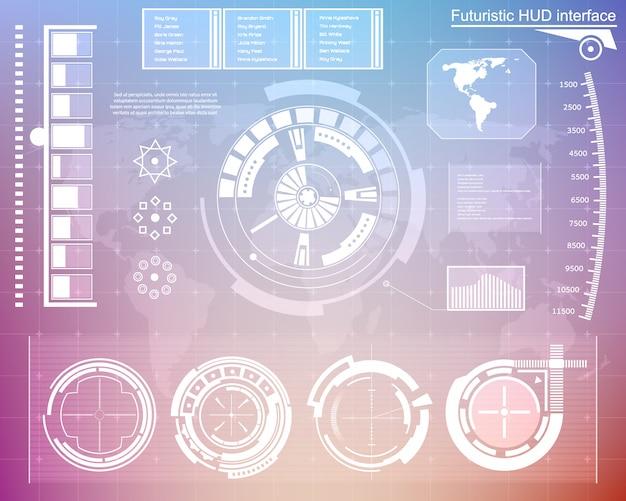 未来的なテクノロジーインターフェースhud ui。 Premiumベクター
