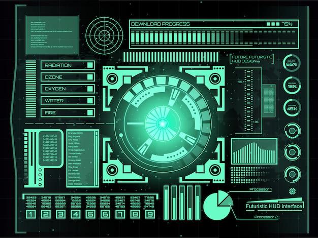 未来的な技術インターフェイスhud uiの背景。 Premiumベクター