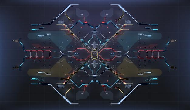 Hud ui фон. радарный интерфейс. космический корабль высокотехнологичный экран концепции. Premium векторы