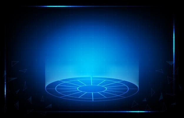 Абстрактная предпосылка голубого дисплея технологии hud ui Premium векторы
