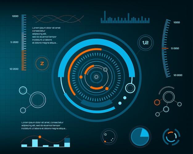 抽象的な未来、概念ベクトル未来的な青の仮想グラフィックタッチユーザインタフェースhud。 web、サイト、黒い背景、テクノ、オンラインデザイン、ビジネス、gui、uiで分離されたモバイルアプリケーション。 Premiumベクター