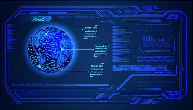 Hudワールドブルーサイバー回路未来技術の背景 Premiumベクター
