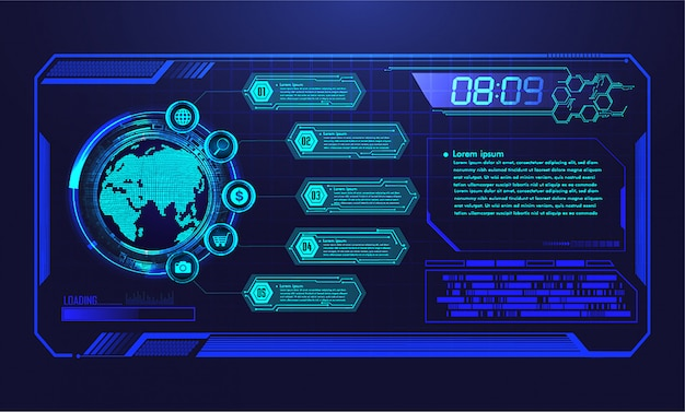 Hud世界のサイバー回路の将来の技術背景 Premiumベクター