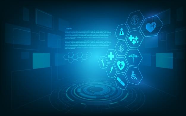 Hudインターフェースバーチャルホログラム将来システムヘルスケア技術革新の背景 Premiumベクター