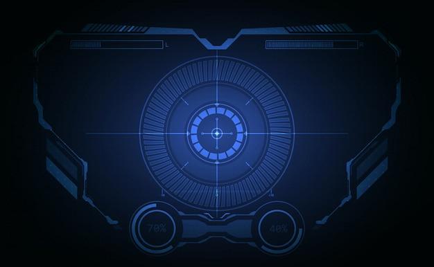 Hudインターフェイス航空機システムのグラフィック画面の背景 Premiumベクター