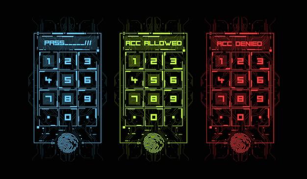Сканирование пальцев в футуристическом стиле. биометрический идентификатор с футуристическим интерфейсом hud. иллюстрация концепции технологии сканирования отпечатков пальцев. панель управления с паролем. Premium векторы