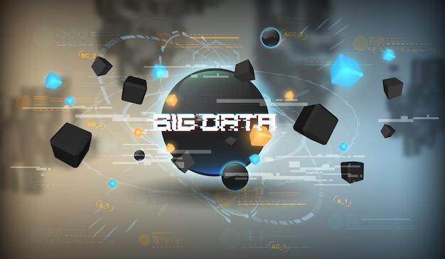 ビッグデータの抽象的な視覚化。未来的な美的デザイン。 hud要素を持つビッグデータの背景。 Premiumベクター