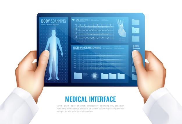 Человеческие руки касаясь экрана планшета показывая медицинский интерфейс с концепцией hud элементов реалистичной Бесплатные векторы