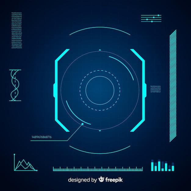 Футуристический интерфейс hud с градиентным стилем Бесплатные векторы