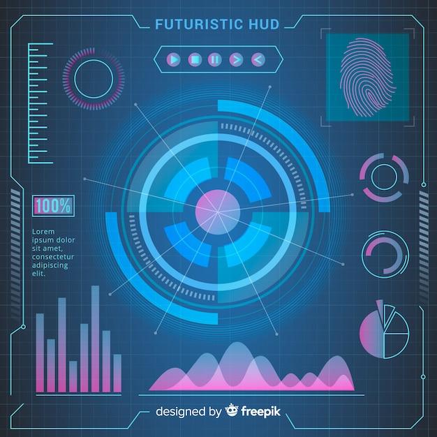 グラデーションスタイルによる未来的なhudインターフェイス 無料ベクター