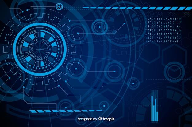 Абстрактный синий фон технологии hud Бесплатные векторы