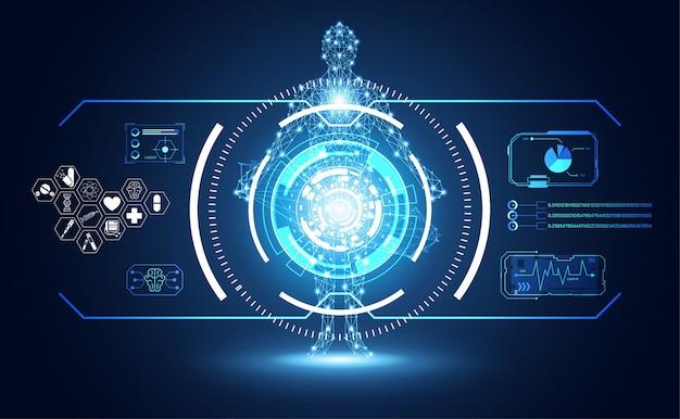 Технология пользовательского интерфейса футуристический интерфейс hud человека Premium векторы