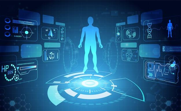 Цифровой hud интерфейс данных о здоровье человека Premium векторы
