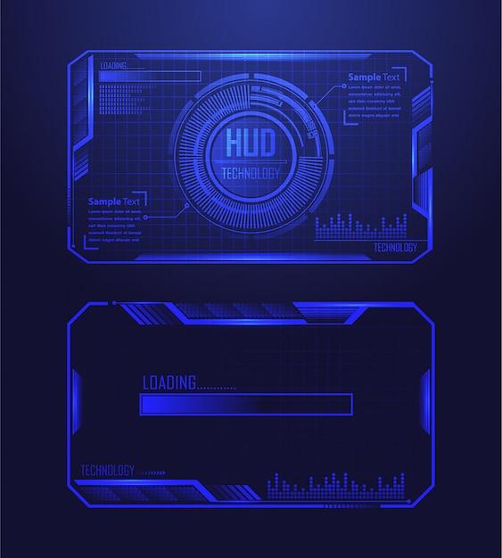 青いhudサイバー回路将来の技術コンセプトの背景 Premiumベクター
