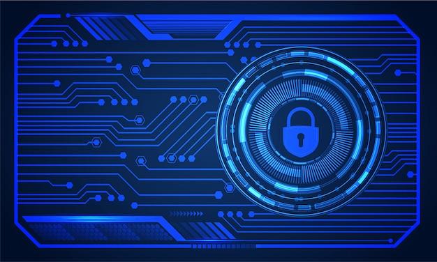 デジタル背景、サイバーセキュリティの南京錠hudを閉鎖 Premiumベクター