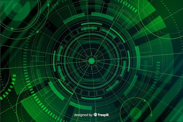Зеленый абстрактный фон технологии hud Бесплатные векторы