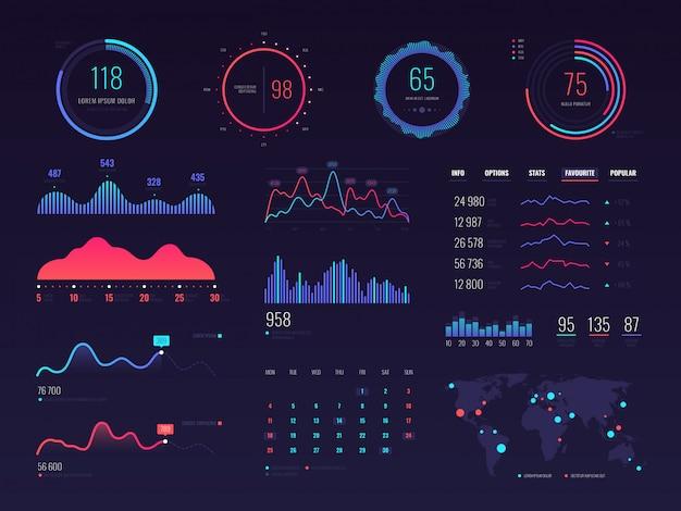 Интеллектуальные технологии hud интерфейса. экран данных управления сетью с графиками и диаграммами Premium векторы