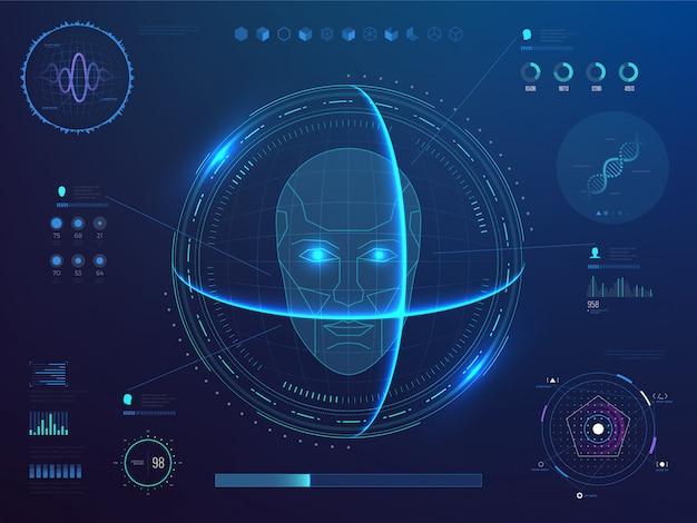 Биометрическое цифровое сканирование лиц, программное обеспечение для распознавания лиц с интерфейсом hud, графики, диаграммы и данные обнаружения днк Premium векторы