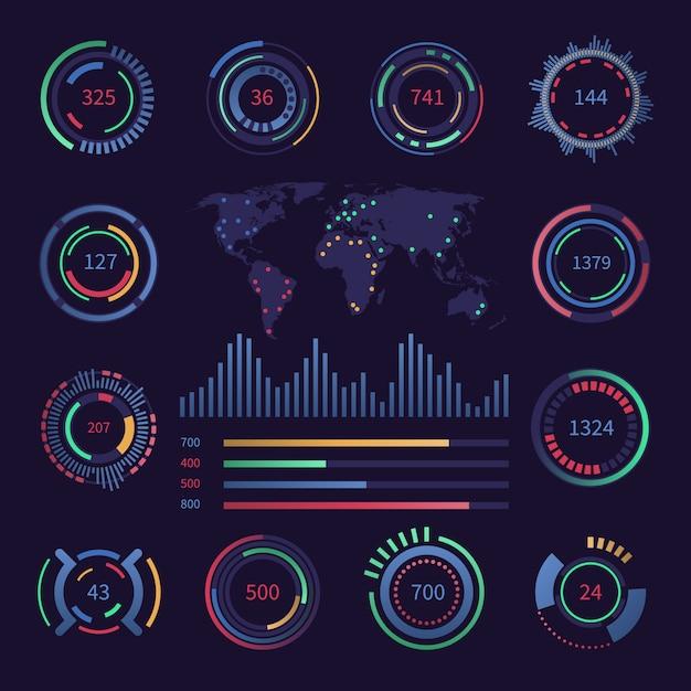 円形のデジタルhud視覚化データ要素 Premiumベクター