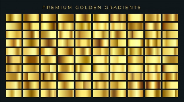 Huge big collection of golden gradients background swatches Premium Vector
