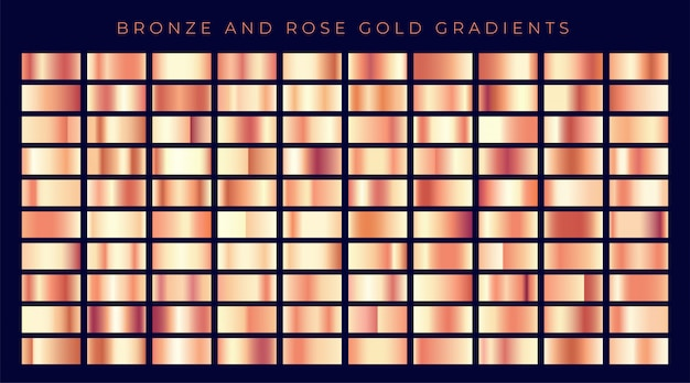 Huge collection of rose gold or copper gradients Free Vector