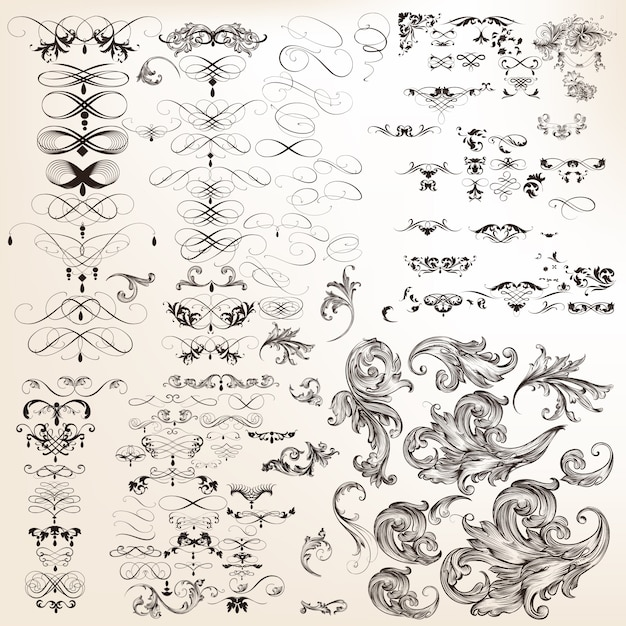Huge collection of vector decorative calligraphic flourishes Free Vector