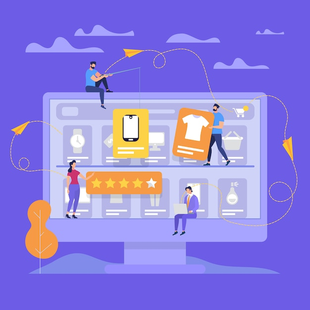 Huge monitor with people make online shopping. Premium Vector