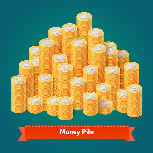 Huge pile of stacked gold coins. Free Vector
