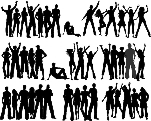 Huge selection of crowds of people Free Vector