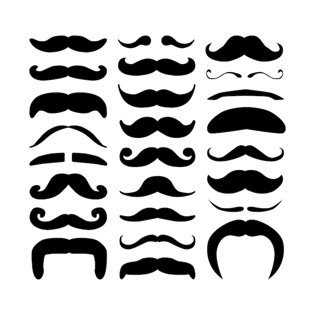 Huge set of black silhouette hipster vector mustaches. Premium Vector