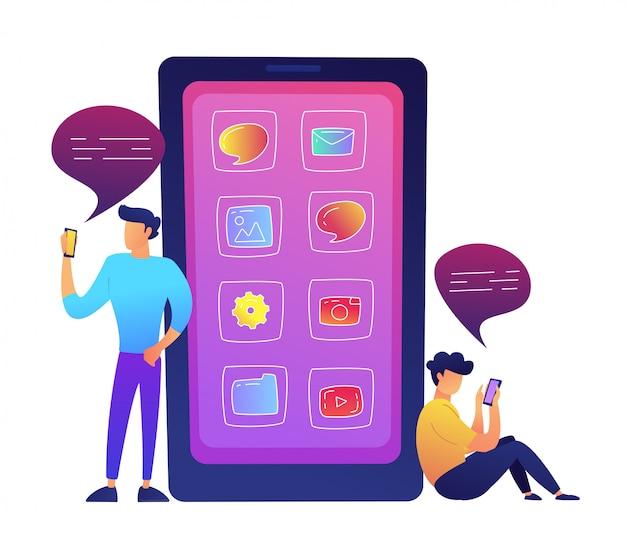 アプリのアイコンとソーシャルメディアのベクトル図と通信する2人のユーザーを持つ巨大なスマートフォン。 Premiumベクター