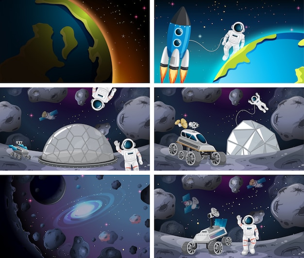 Huge space scene set Free Vector
