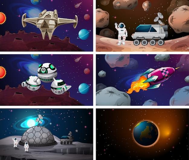 Huge space scene set Free Vector