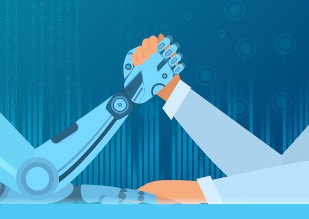 Человеческий армрестлинг с роботом. борьба человека против робота. концепция иллюстрации искусственного интеллекта. Premium векторы