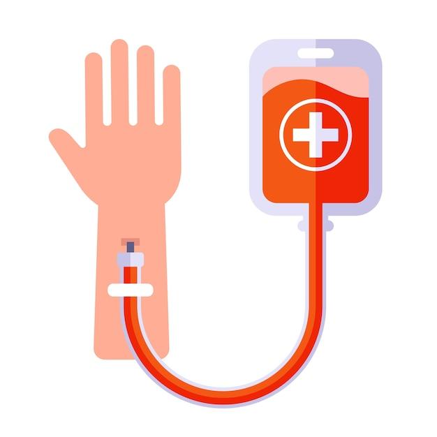 人間の輸血アイコン。腕に注射します。 Premiumベクター