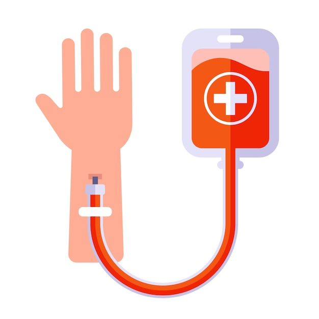 Human blood transfusion icon. make an injection in the arm. Premium Vector