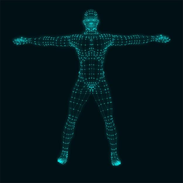 Human body on black background. Premium Vector
