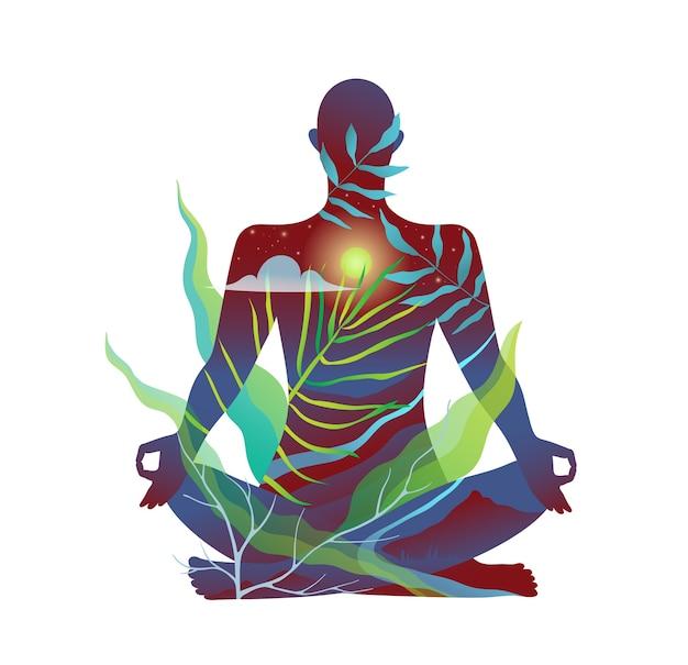 Человеческое тело в естественной медитации и практике йоги абстрактный дизайн Premium векторы