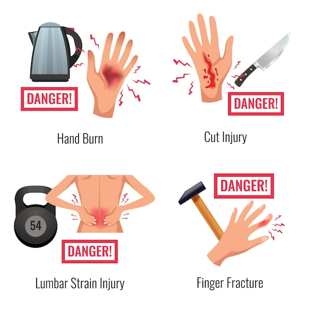 Human body parts injury warning 4 flat compositions set hand burn finger fracture lumber strain Free Vector