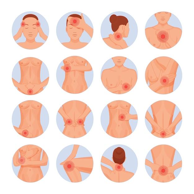 Мультфильм частей человеческого тела физические травмы. Premium векторы